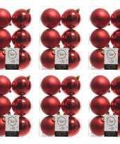 36x kerst rode kerstballen 8 cm glanzende matte kunststof plastic kerstversiering