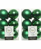 36x kerstgroene kerstballen 6 cm kunststof mat glans
