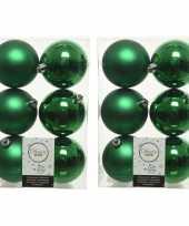 36x kerstgroene kerstballen 8 cm kunststof mat glans