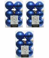 36x kobalt blauwe kerstballen 6 cm kunststof mat glans