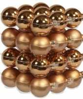 36x koperen kerstballen 4 cm glas kerstversiering