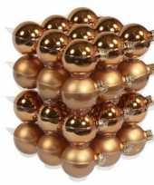 36x koperen kerstballen 6 cm glas kerstversiering