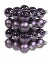 36x paarse kerstballen 4 cm glas kerstversiering 10183144
