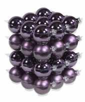 36x paarse kerstballen mat glans 6 cm glas kerstversiering