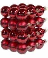 36x rode kerstballen 4 cm glas kerstversiering
