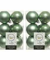 36x salie groene kerstballen 6 cm kunststof mat glans