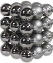 36x titanium grijze kerstballen 4 cm glas kerstversiering