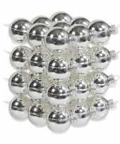 36x zilveren kerstballen 4 cm glas kerstversiering