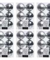 36x zilveren kerstballen 8 cm glanzende matte kunststof plastic kerstversiering