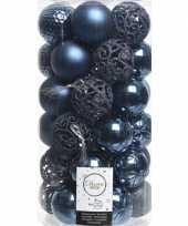 37x donkerblauwe kerstballen 6 cm glanzende matte glitter kunststof plastic kerstversiering