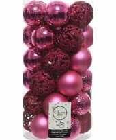 37x fuchsia roze kerstballen 6 cm glanzende matte glitter kunststof plastic kerstversiering