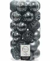 37x grijsblauwe kerstballen 6 cm glanzende matte glitter kunststof plastic kerstversiering