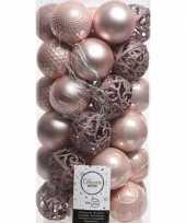 37x lichtroze kerstballen 6 cm glanzende matte glitter kunststof plastic kerstversiering