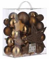 39x kunststof kerstballen 8 cm met ster piek licht koper
