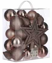 39x kunststof kerstballen 8 cm met ster piek lichtroze