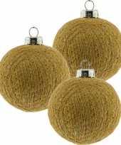 3x gouden cotton balls kerstballen 6 5 cm kerstboomversiering