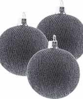 3x grijze cotton balls kerstballen 6 5 cm kerstboomversiering