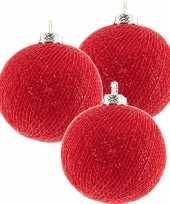 3x rode cotton balls kerstballen 6 5 cm kerstboomversiering