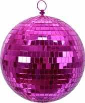 3x roze disco kerstballen discoballen discobollen foam 20 cm