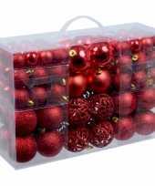 3x stuks pakket met 100x rode kerstballen kunststof 3 4 en 6 cm