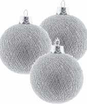 3x zilveren cotton balls kerstballen 6 5 cm kerstboomversiering