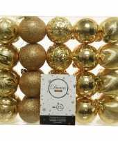 40x gouden kerstballen 6 cm glanzende glitter kunststof plastic kerstversiering