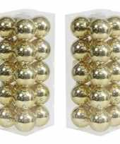 40x gouden kerstballen 8 cm glanzende kunststof plastic kerstversiering