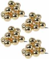 40x gouden mini kerstballen kerststukje stekers 2 cm glans