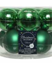 40x kerst groene glazen kerstballen 6 cm glans en mat