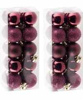 40x kleine aubergine roze kerstballen 3 cm kunststof
