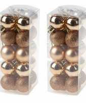 40x kleine koperen kerstballen 3 cm kunststof mat glans glitter