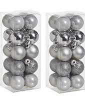 40x kleine zilveren kerstballen 3 cm kunststof mat glans glitter