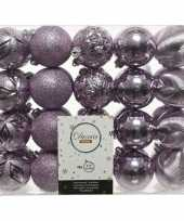 40x lila paarse kerstballen 6 cm glanzende glitter kunststof plastic kerstversiering