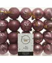 40x oud roze kerstballen 6 cm glanzende glitter kunststof plastic kerstversiering