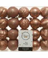 40x zacht terra kerstballen 6 cm glanzende glitter kunststof plastic kerstversiering