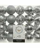 40x zilveren kerstballen 6 cm glanzende glitter kunststof plastic kerstversiering