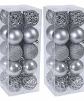 40x zilveren kerstballen 6 cm glanzende matte glitters kunststof kerstversiering