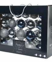 42x grijsblauwe donkerblauwe kerstballen 5 6 7 cm glanzende matte glitters glas kerstversiering
