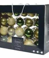 42x groene gouden kerstballen 5 6 7 cm glanzende matte glitters glas kerstversiering