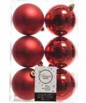 42x kerst rode kerstballen 8 cm glanzende matte kunststof plastic kerstversiering