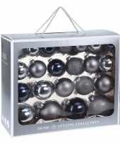 44x blauwe kerstballen 6 7 8 10 cm matte glanzende glas kerstversiering