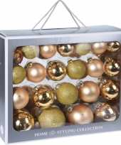 44x gouden kerstballen 6 7 8 10 cm matte glanzende glas kerstversiering