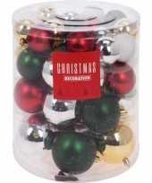 44x klassieke kerst kerstballen 5 6 7 8 cm matte glanzende glitters kunststof plastic kerstversiering