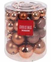 44x koper kleurig kerstballen 5 6 7 8 cm matte glanzende glitters kunststof kerstversiering