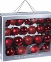 44x rode kerstballen 6 7 8 10 cm matte glanzende glas kerstversiering