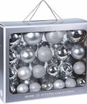 44x zilveren kerstballen 6 7 8 10 cm matte glanzende glas kerstversiering