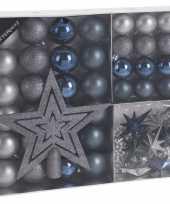 45x blauw grijs tinten kerstballen 4 5 8 cm en kerstslinger piek matte glanzende glitters kunststof plastic kerstversiering