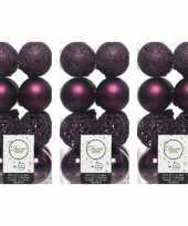 48x aubergine paarse kerstballen 6 cm glanzende matte glitter kunststof plastic kerstversiering