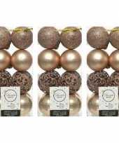 48x donker parel champagne kerstballen 6 cm glanzende matte glitter kunststof plastic kerstversiering