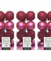 48x fuchsia roze kerstballen 6 cm glanzende matte glitter kunststof plastic kerstversiering
